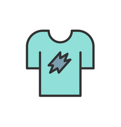 t-shirt clothing flat color line icon vector image