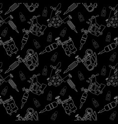 Tattoo machines and ink pattern Black and white vector image