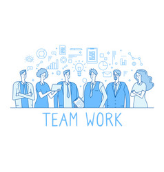 teamwork line concept creative business team vector image