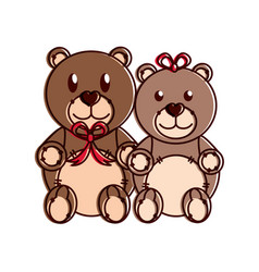 teddy bear couple design vector image