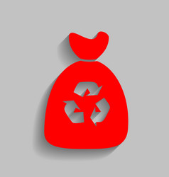 trash bag icon red icon with soft shadow vector image