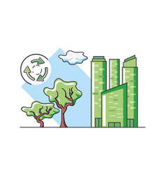 Tree city and sustainability design vector