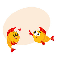 Two smiling golden fish characters one showing vector