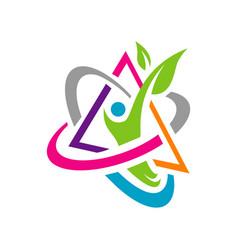 Vitamin logo design icon healthy people symbol vector