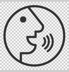 Voice command with sound waves icon in flat style vector