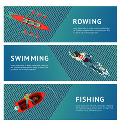 water sport horizontal banners set people vector image