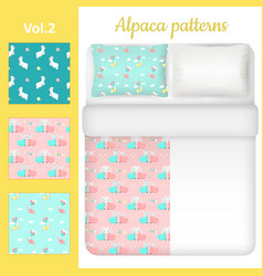White blank and cute alpaca bed linen set vector
