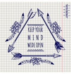 Wild boho emblem with arrows sketch vector