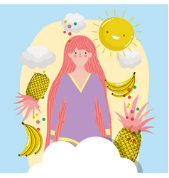 Woman hello summer holiday design vector