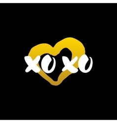 Xoxo Heart Handwritten Calligraphy vector image