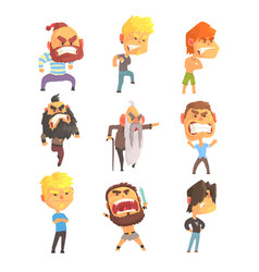 angry and exasperated men set for label design vector image