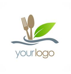 food spoon organic logo vector image vector image