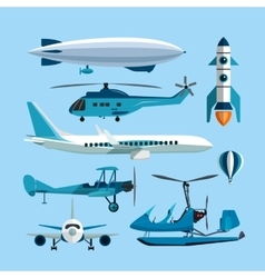 set of flying transportation objects Hot vector image vector image
