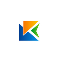 triangle letter k abstract colored logo vector image