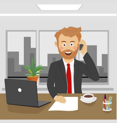 young business man talking on phone in office vector image vector image