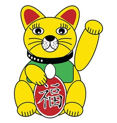 Chinese style cat with good luck sign in gold vector