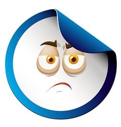 Sad face on sticker vector image