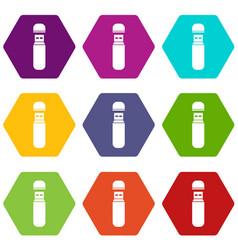 usb flash drive icon set color hexahedron vector image