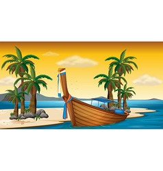 Wooden boat on the shore vector image vector image