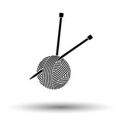 yarn ball with knitting needles icon vector image