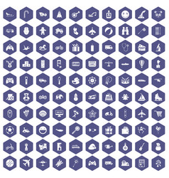 100 toys for kids icons hexagon purple vector image