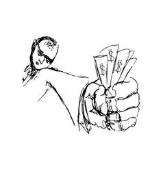 doodle men with money in hand vector image