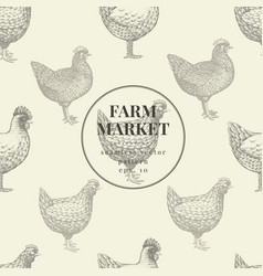 Seamless farm pattern graphical hen vector