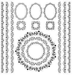 set collections of vintage lacy borders and frames vector image