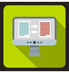 Translation of text on computer icon flat style vector image