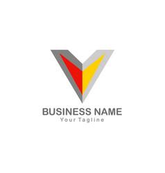triangle letter v sign logo vector image
