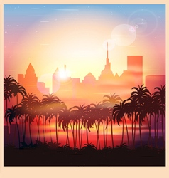 a city at sunrise vector image vector image
