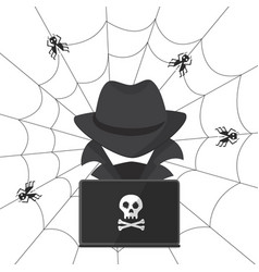 a hacker in a hat with a laptop bugs attack vector image vector image