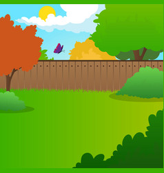 cartoon backyard landscape with green meadow vector image