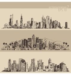 Chicago los angeles houston big city engraved vector