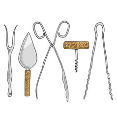 fork for herring or cake spatula asparagus tongs vector image vector image