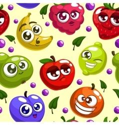 Fruits characters pattern vector image