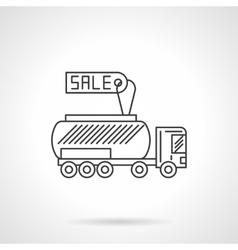 Gasoline tanker flat line design icon vector image