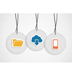 Hanging cloud computing badges set vector image
