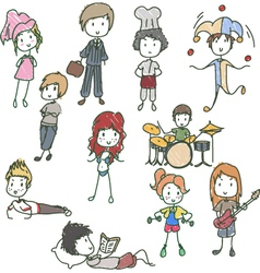 kids people drawing vector image vector image