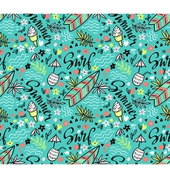 tropical bright seamless pattern with surfboard vector image vector image