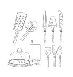 Utensils for cheese cutting hand drawn realistic vector