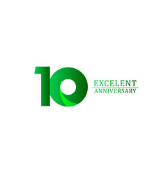 10 years excellent anniversary celebration green vector