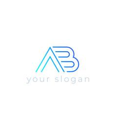 Ab logo line design vector