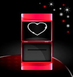 Abstract gift box with jewelry heart vector