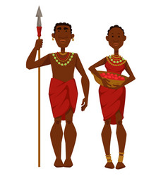 african family tribe members man warrior vector image