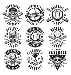 baseball black emblems or t shirt prints vector image