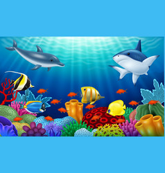 Beautiful underwater world with corals vector