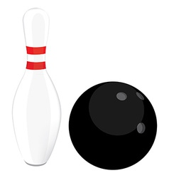 Bowling ball and pin vector image