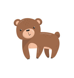 Brown bear woodland cute animal cartoon vector