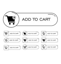 Button icon set add to cart shoping vector